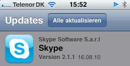 skype update version 2 1 1 behebt lautst rke probleme iphone. Black Bedroom Furniture Sets. Home Design Ideas