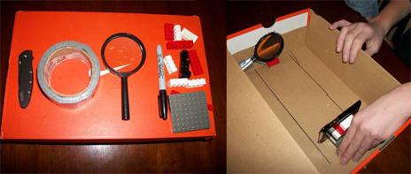mit lupe klebeband und lego zum iprojektor iphone beamer im selbstbau iphone. Black Bedroom Furniture Sets. Home Design Ideas