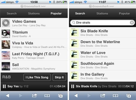 grooveshark spielt jetzt auch auf dem iphone ohne. Black Bedroom Furniture Sets. Home Design Ideas