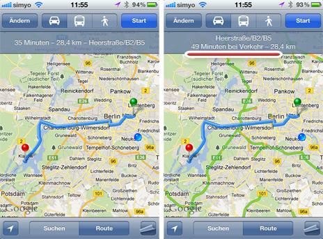 routenberechnung in der karten applikation google ber cksichtigt verkehrsinfos iphone. Black Bedroom Furniture Sets. Home Design Ideas