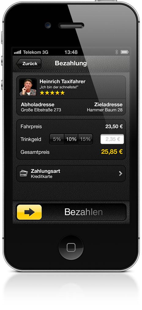 mytaxi bezahlt die taxi rechnung vom iphone aus iphone. Black Bedroom Furniture Sets. Home Design Ideas