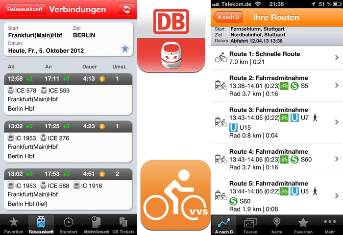 gr ner unterwegs bahn zeigt preise vvs mit fahrrad app iphone. Black Bedroom Furniture Sets. Home Design Ideas