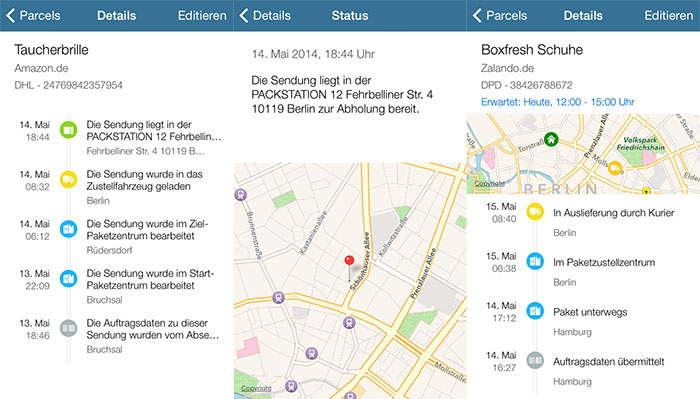 parceltrack erste app zur paketverfolgung mit live tracking iphone. Black Bedroom Furniture Sets. Home Design Ideas
