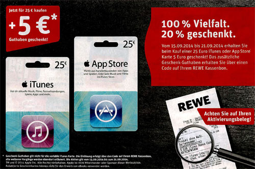 itunes karten 20 bonus guthaben bei rewe iphone. Black Bedroom Furniture Sets. Home Design Ideas