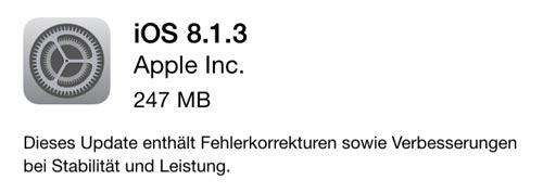 Apple veröffentlicht iOS 8.1.3 › iphone-ticker.de on
