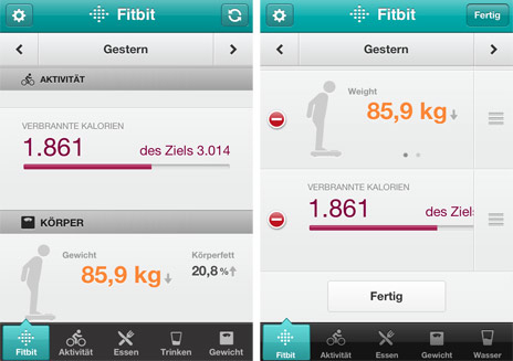 Update der FitBit-App: Wiege-Ergebnisse und Schrittzähler